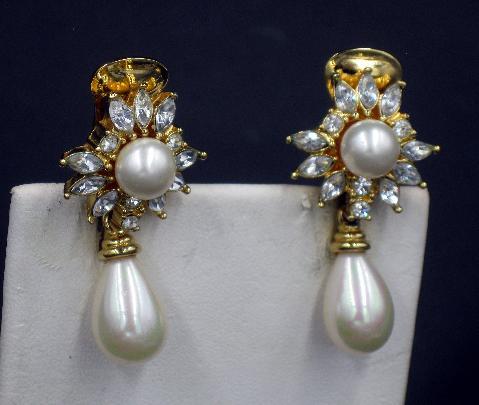 Sarah Coventry Earrings Sparkle costume pearldrop rhinestone enamel shiny goldtone crystal clip on Earrings vintage estate jewelry costume