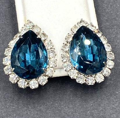 Tiny Sapphire Crystal Dangle Earrings.Blue.Rhinestone.Tear Drop.White.Silver.Bridal.Bridesmaid.Jeweled.Vintage.Statement.Gift.Handmade.